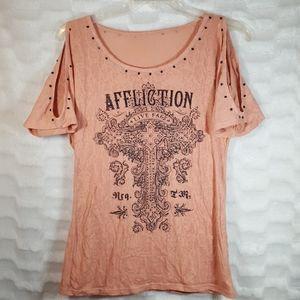 Affliction black rhinestone cold shoulder top L